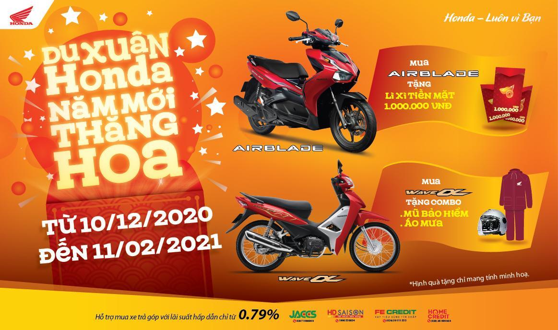 """Honda Việt Nam dành ưu đãi hấp dẫn cho khách hàng  mua xe Wave Alpha 110cc & Air Blade 150cc/125cc  - """"Du xuân Honda, Năm mới thăng hoa"""" -"""