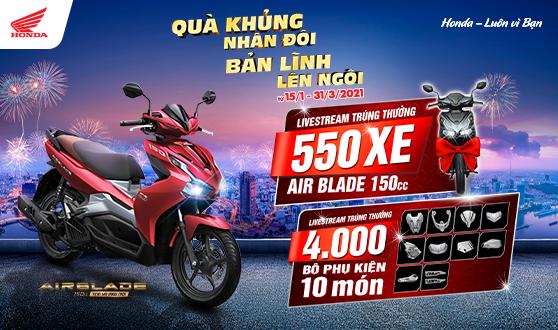 """Honda Việt Nam dành ưu đãi hấp dẫn cho khách hàng  mua xe Air Blade 150cc nhân dịp năm mới - """"Quà khủng nhân đôi, Bản lĩnh lên ngôi"""" -"""